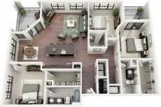 20 mẫu thiết kế căn hộ 3 phòng ngủ hiện đại
